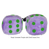 3 Inch Lavender Purple Fuzzy Dice with Dark Green Dots