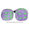 4 Inch Lavender Purple Fluffy Dice with Lime Green Dots