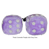 4 Inch Lavender Purple Fluffy Dice with Grey Dots