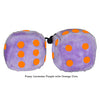 3 Inch Lavender Purple Fuzzy Dice with Orange Dots