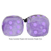 3 Inch Lavender Purple Fuzzy Dice with Lavender Purple Dots