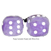 3 Inch Lavender Purple Fuzzy Dice with White Dots