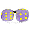 3 Inch Lavender Purple Fuzzy Dice with Yellow Dots