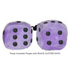 3 Inch Lavender Purple Fuzzy Dice with BLACK GLITTER DOTS