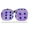 4 Inch Lavender Purple Fluffy Dice with ROYAL NAVY BLUE GLITTER DOTS