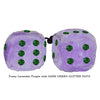 3 Inch Lavender Purple Fuzzy Dice with DARK GREEN GLITTER DOTS
