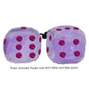 4 Inch Lavender Purple Fluffy Dice with HOT PINK GLITTER DOTS