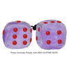 4 Inch Lavender Purple Fluffy Dice with RED GLITTER DOTS