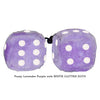 3 Inch Lavender Purple Fuzzy Dice with WHITE GLITTER DOTS