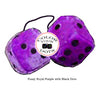 3 Inch Royal Purple Furry Dice with Black Dots
