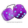 4 Inch Royal Purple Fuzzy Dice with Light Blue Dots