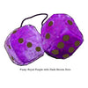 4 Inch Royal Purple Fuzzy Dice with Dark Brown Dots