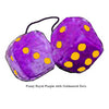 3 Inch Royal Purple Furry Dice with Goldenrod Dots