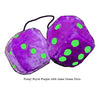 3 Inch Royal Purple Furry Dice with Lime Green Dots