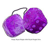 4 Inch Royal Purple Fuzzy Dice with Royal Purple Dots