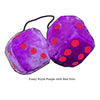 4 Inch Royal Purple Fuzzy Dice with Red Dots