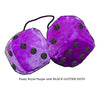 3 Inch Royal Purple Furry Dice with BLACK GLITTER DOTS
