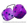 4 Inch Royal Purple Fuzzy Dice with ROYAL NAVY BLUE GLITTER DOTS