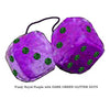 4 Inch Royal Purple Fuzzy Dice with DARK GREEN GLITTER DOTS