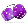 3 Inch Royal Purple Furry Dice with LIGHT PINK GLITTER DOTS