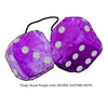 3 Inch Royal Purple Furry Dice with SILVER GLITTER DOTS
