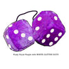 4 Inch Royal Purple Fuzzy Dice with WHITE GLITTER DOTS