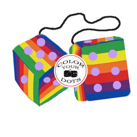 4 Inch Pride Rainbow Furry Dice