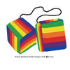 4 Inch Pride Rainbow Furry Dice with NO Dots