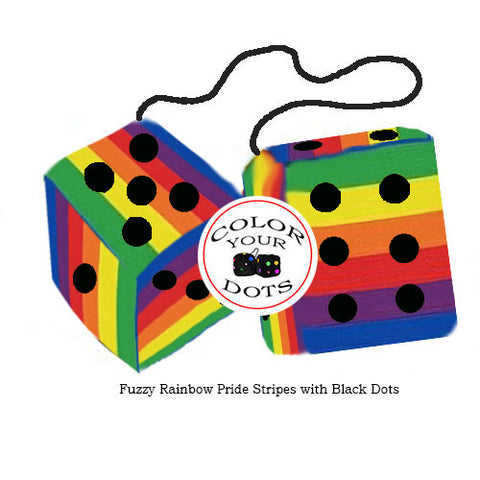 4 Inch Pride Rainbow Furry Dice with Black Dots