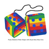 4 Inch Pride Rainbow Furry Dice with Royal Navy Blue Dots