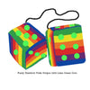 4 Inch Pride Rainbow Furry Dice with Lime Green Dots