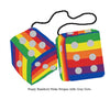 4 Inch Pride Rainbow Furry Dice with Grey Dots