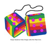 4 Inch Pride Rainbow Furry Dice with Hot Pink Dots