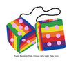 4 Inch Pride Rainbow Furry Dice with Light Pink Dots