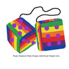 4 Inch Pride Rainbow Furry Dice with Royal Purple Dots
