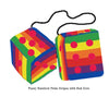 4 Inch Pride Rainbow Furry Dice with Red Dots