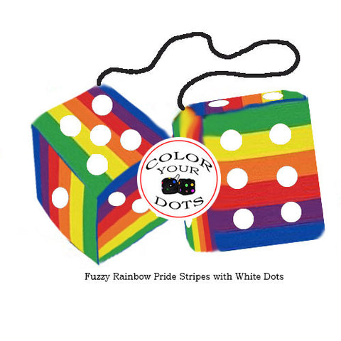 3 Inch Pride Rainbow Fuzzy Dice with White Dots