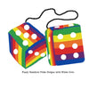 4 Inch Pride Rainbow Furry Dice with White Dots