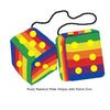 4 Inch Pride Rainbow Furry Dice with Yellow Dots