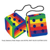 4 Inch Pride Rainbow Fluffy Dice with ROYAL NAVY BLUE GLITTER DOTS