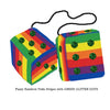 4 Inch Pride Rainbow Fluffy Dice with DARK GREEN GLITTER DOTS