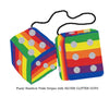 4 Inch Pride Rainbow Fluffy Dice with SILVER GLITTER DOTS
