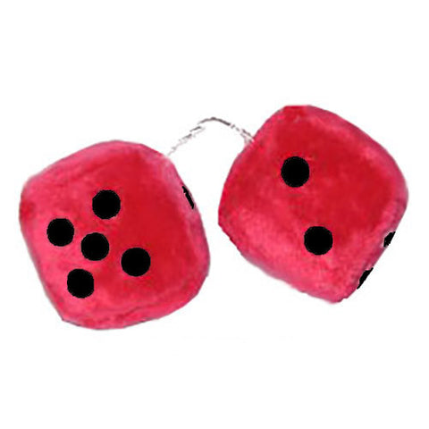 2 Inch Red Fuzzy Dice for Cars