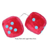 3 Inch Red Fuzzy Car Dice with Light Blue Dots
