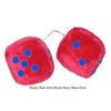 4 Inch Red Fuzzy Car Dice with Royal Navy Blue Dots