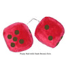 4 Inch Red Fuzzy Car Dice with Dark Brown Dots