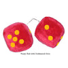 3 Inch Red Fuzzy Car Dice with Goldenrod Dots