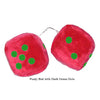 4 Inch Red Fuzzy Car Dice with Dark Green Dots