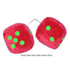 4 Inch Red Fuzzy Car Dice with Lime Green Dots