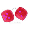 3 Inch Red Fuzzy Car Dice with Hot Pink Dots